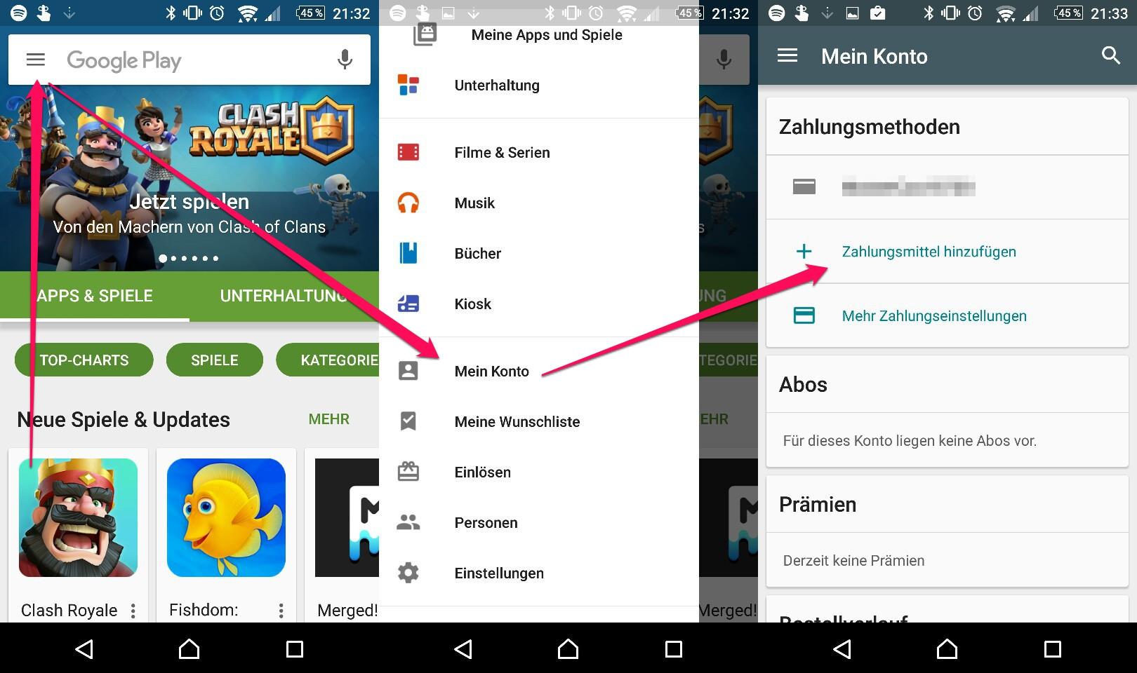 Google Play Store - Zahlungsmethode in der App ändern