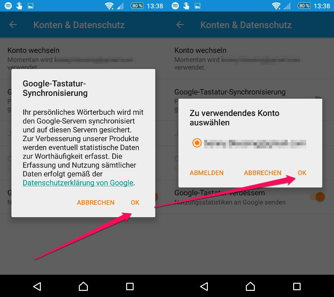 Google Tastatur Wörterbuch geräteübergreifend synchronisieren