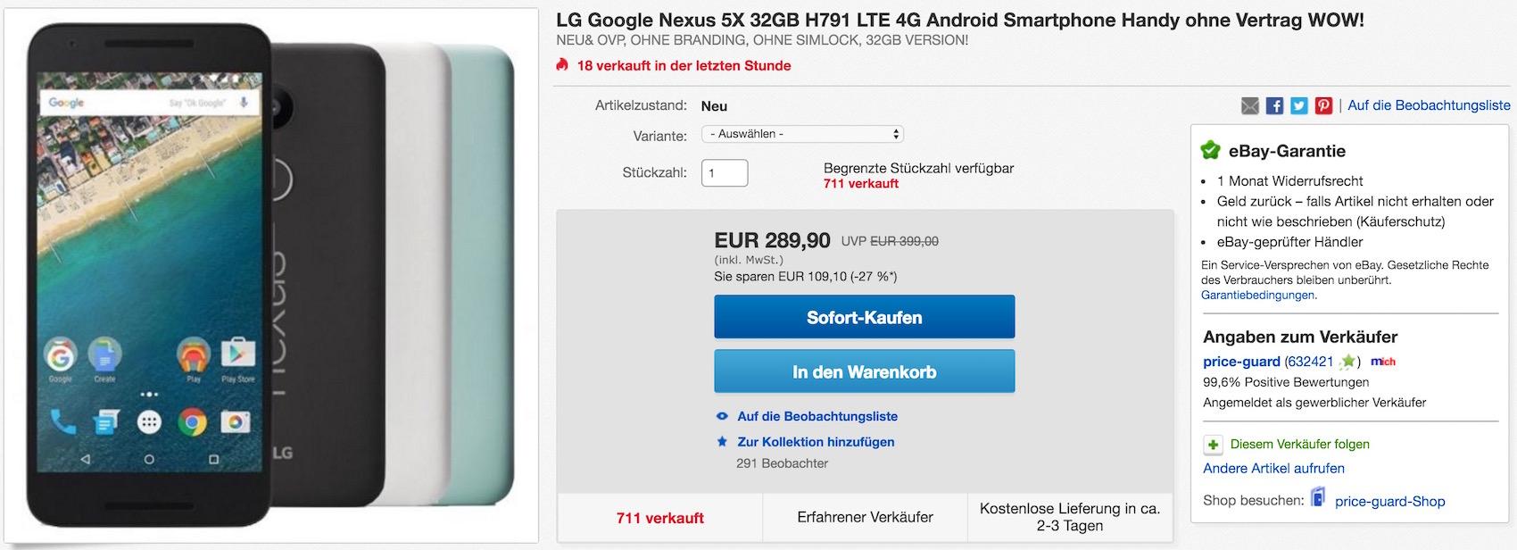 LG Google Nexus 5X bei eBay im Angebot