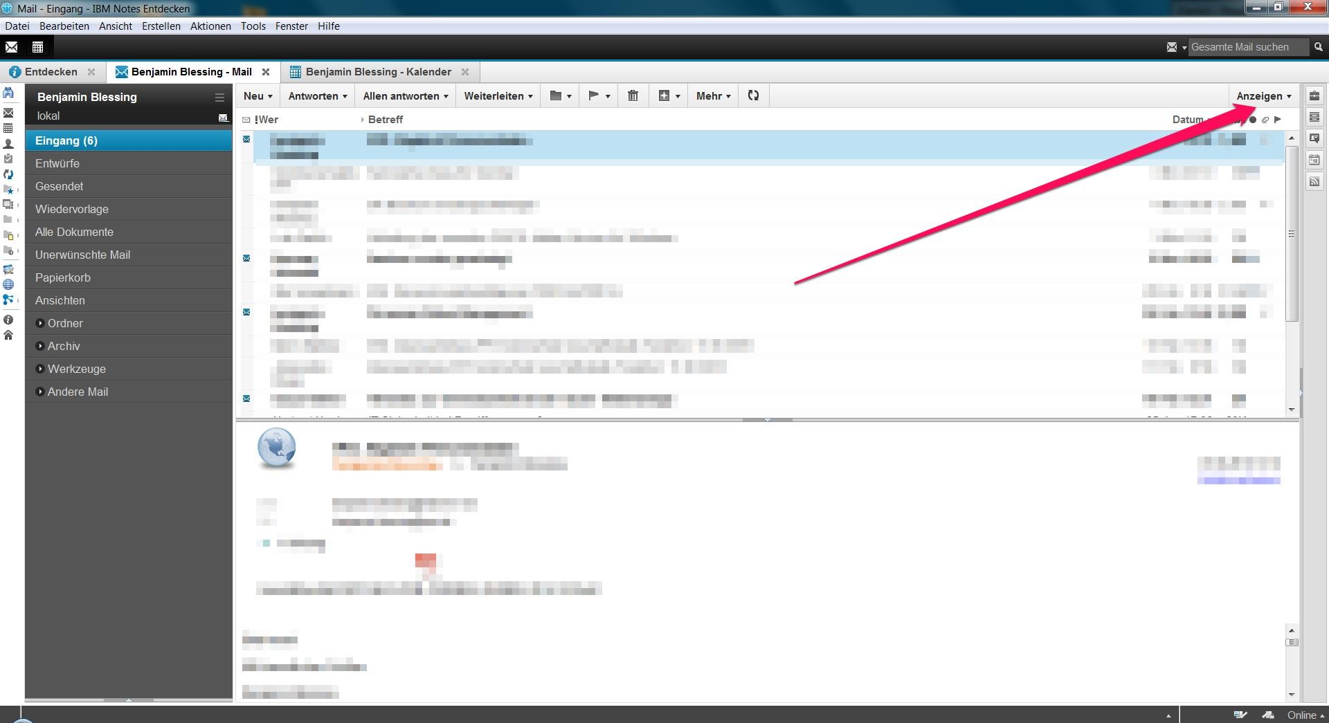 Lotus Notes E-Mail-Vorschau seitlich anzeigen