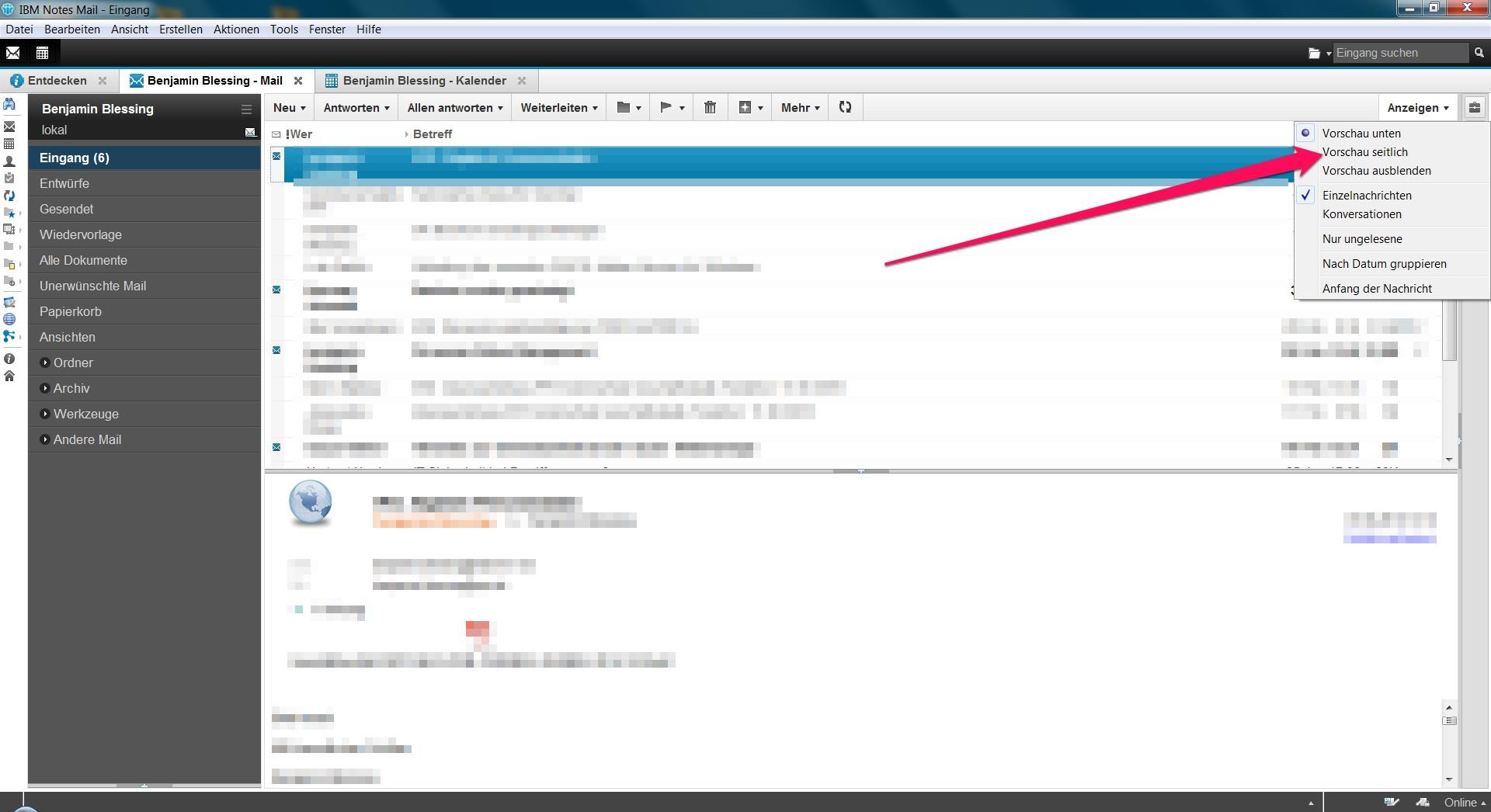 Lotus Notes Vorschau von E-Mails seitlich anzeigen