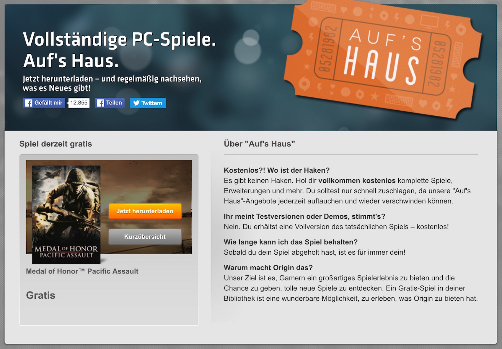 Medal of Honor Pacific Assault: Kostenlos bei EA