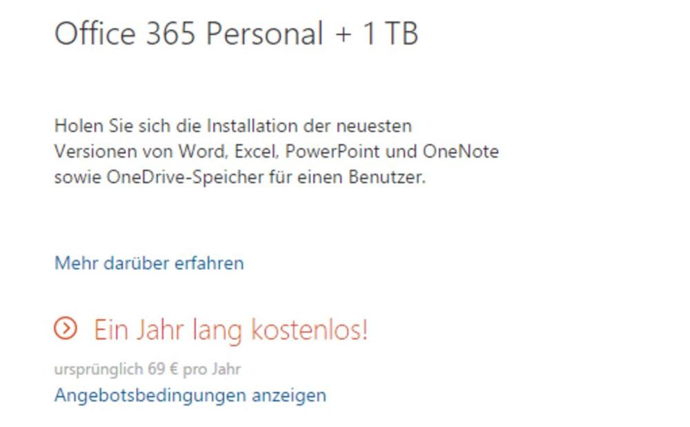 Microsoft Office 365 und 1TB OneDrive-Speicher 1 Jahr kostenlos