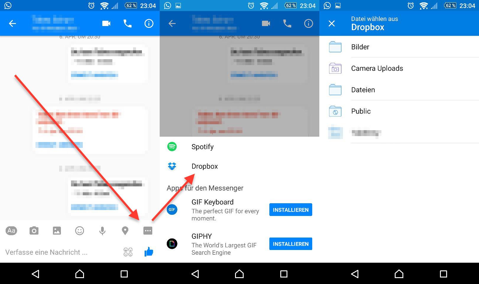 Facebook Messenger - Direkter Zugriff auf Dropbox