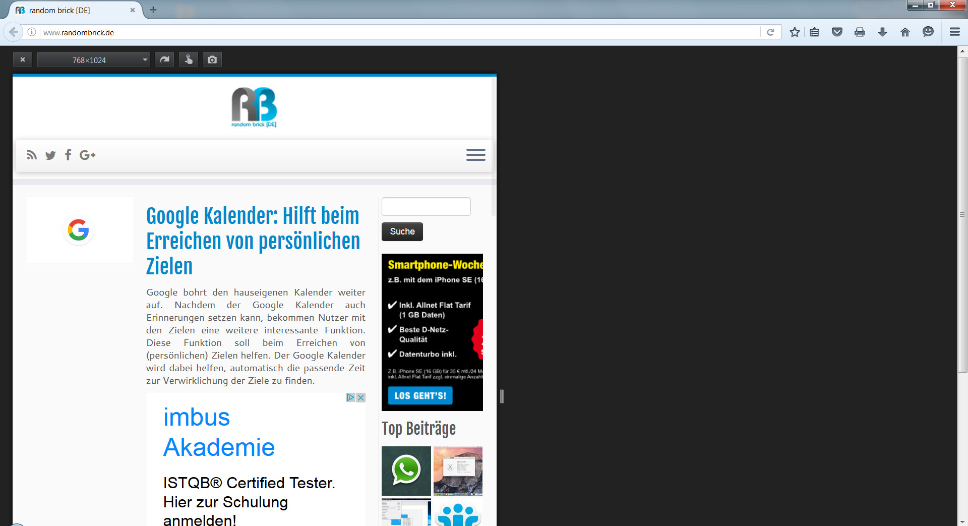 Firefox Bildschirmauflösung im Tab anpassen