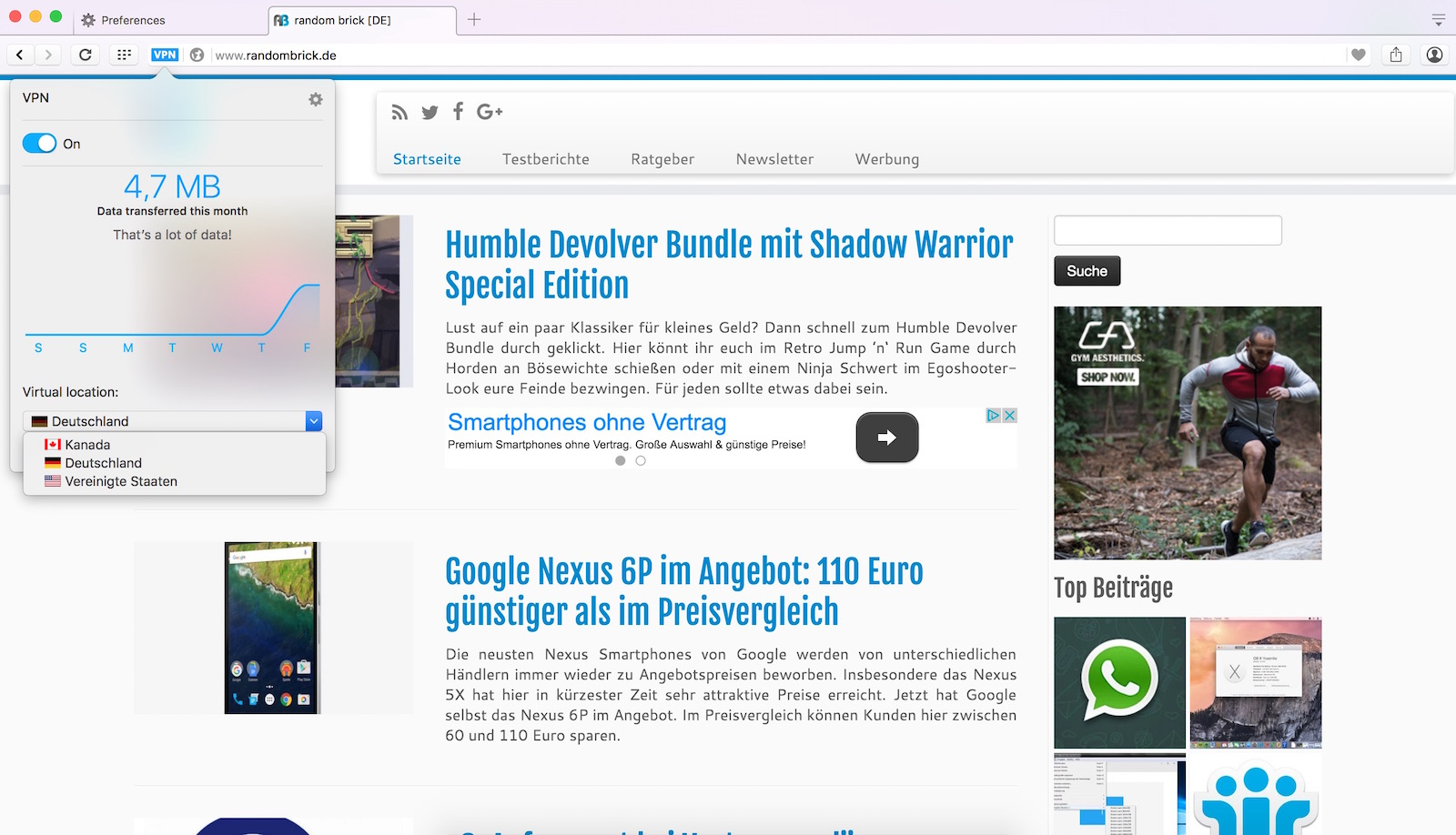 Opera Browser mit VPN