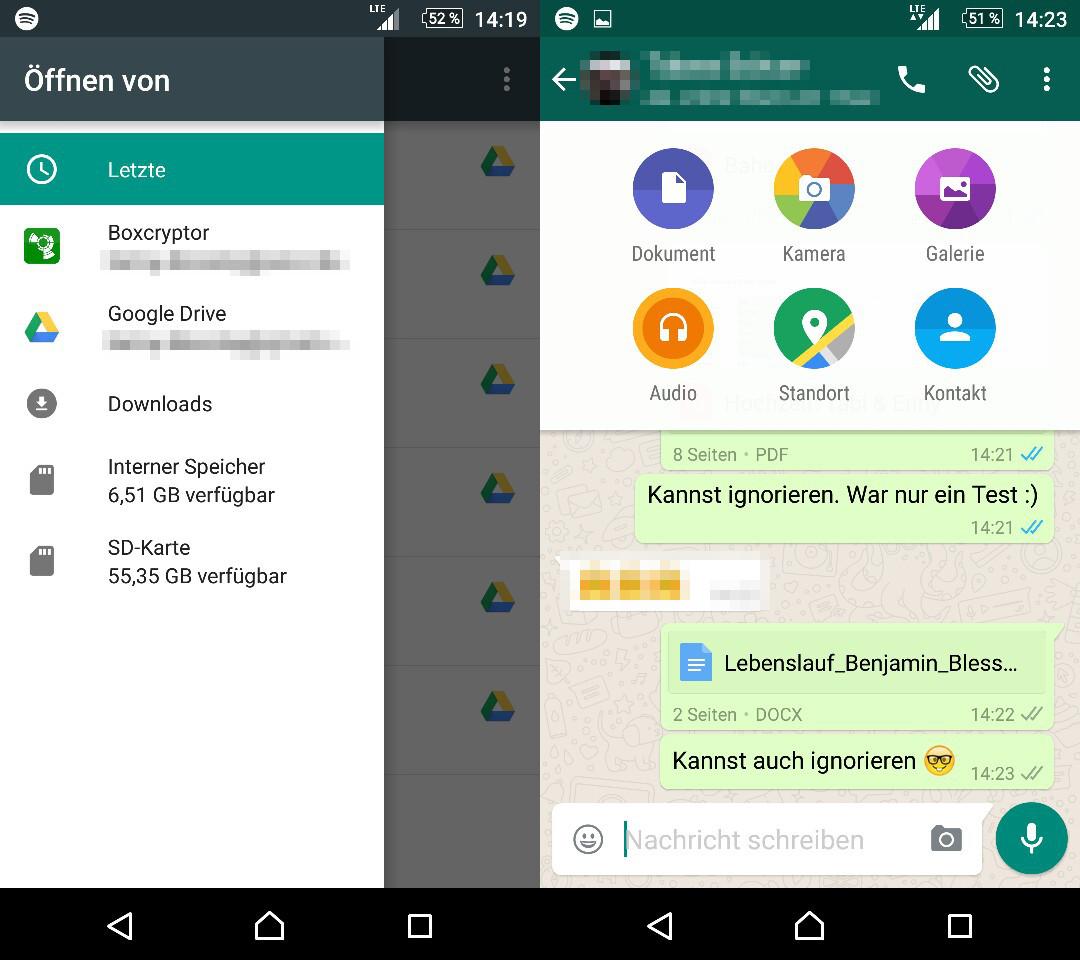 WhatsApp Versenden von Word und Excel Dokumenten