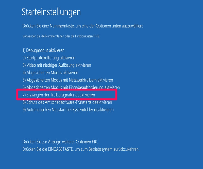 Windows 10 Treibersignatur deaktivieren