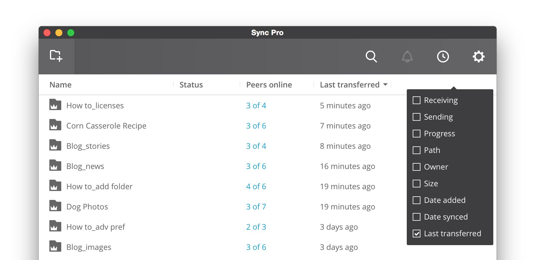 BitTorrent Sync Weboberfläche