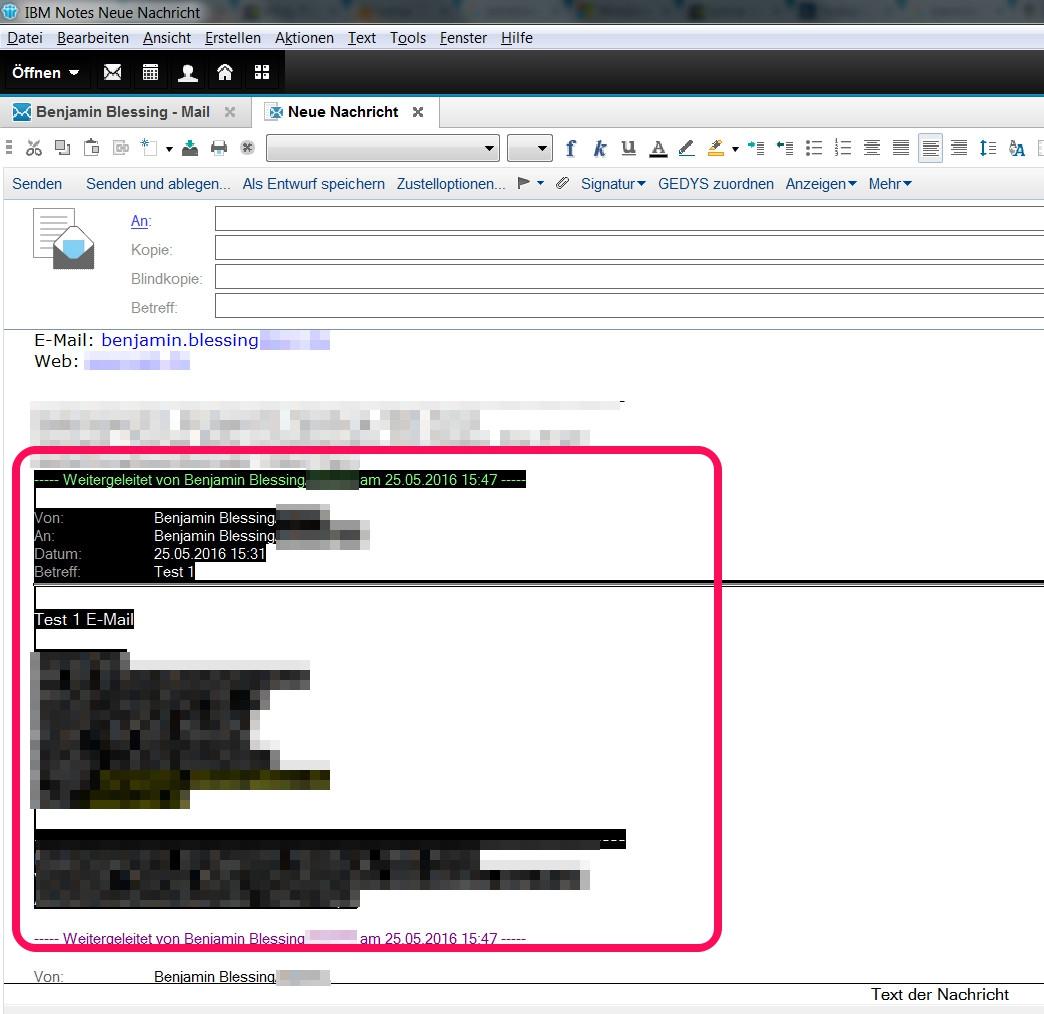 Lotus Notes E-Mail Abschnitt erstellen