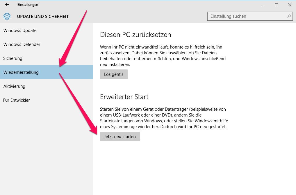 Windows 10 - erweiterte Start