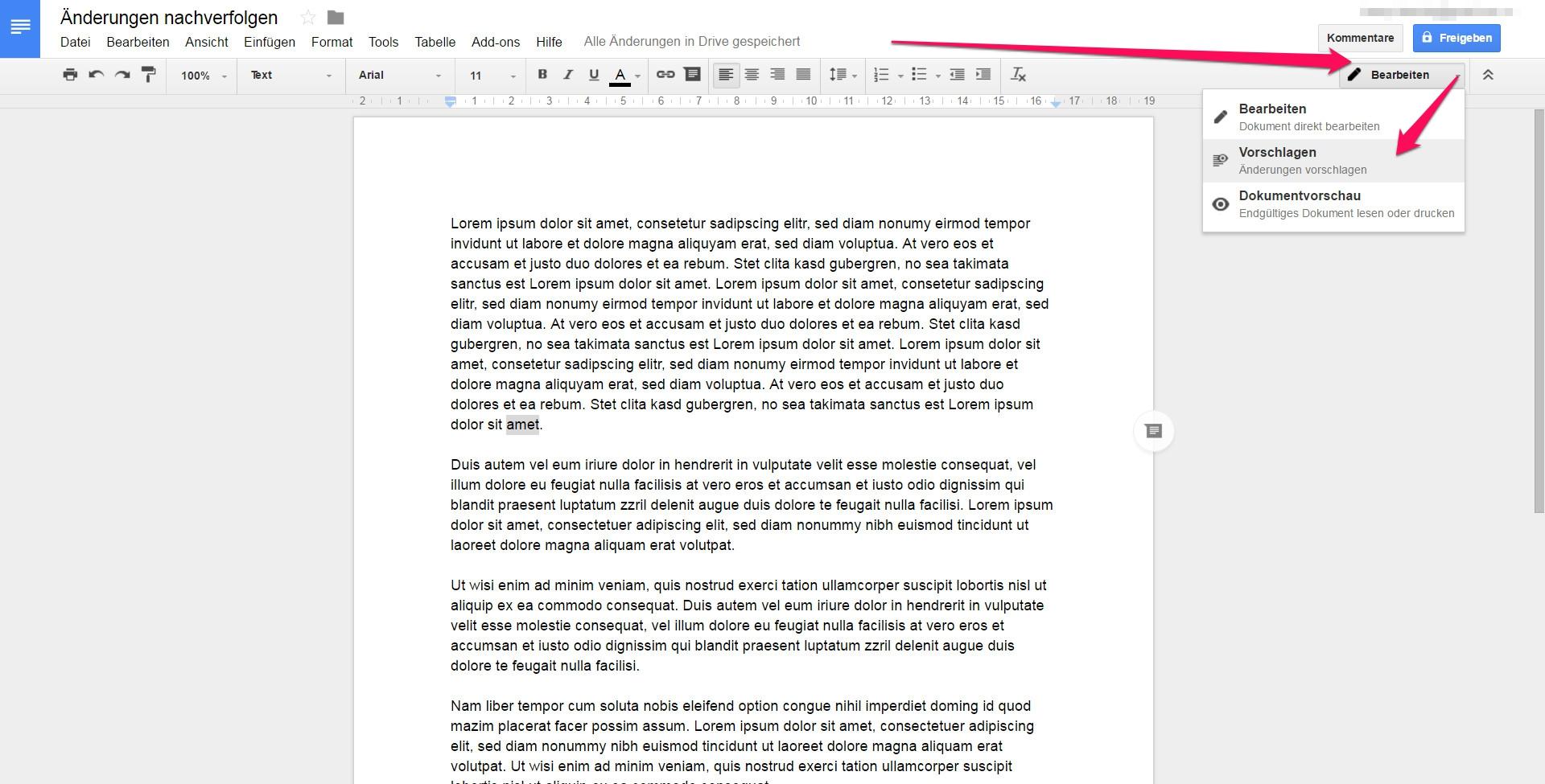 Das Nachverfolgen von Änderungen muss in Google Docs aktiviert werden (Bild: Screenshot).