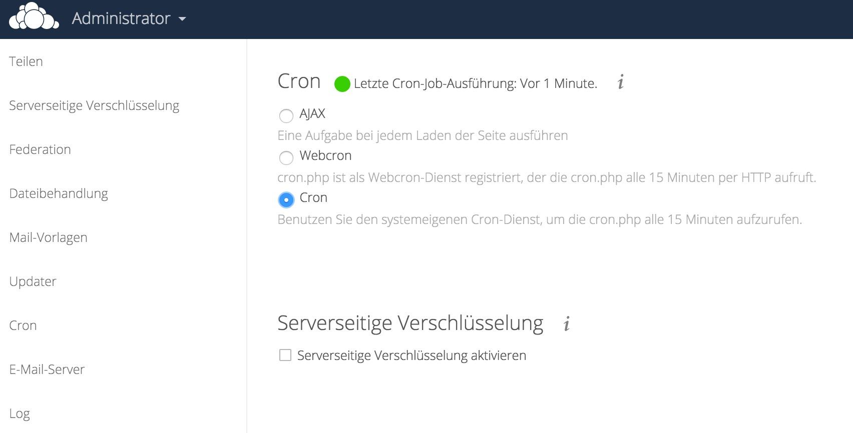 Cron für Owncloud aktivieren
