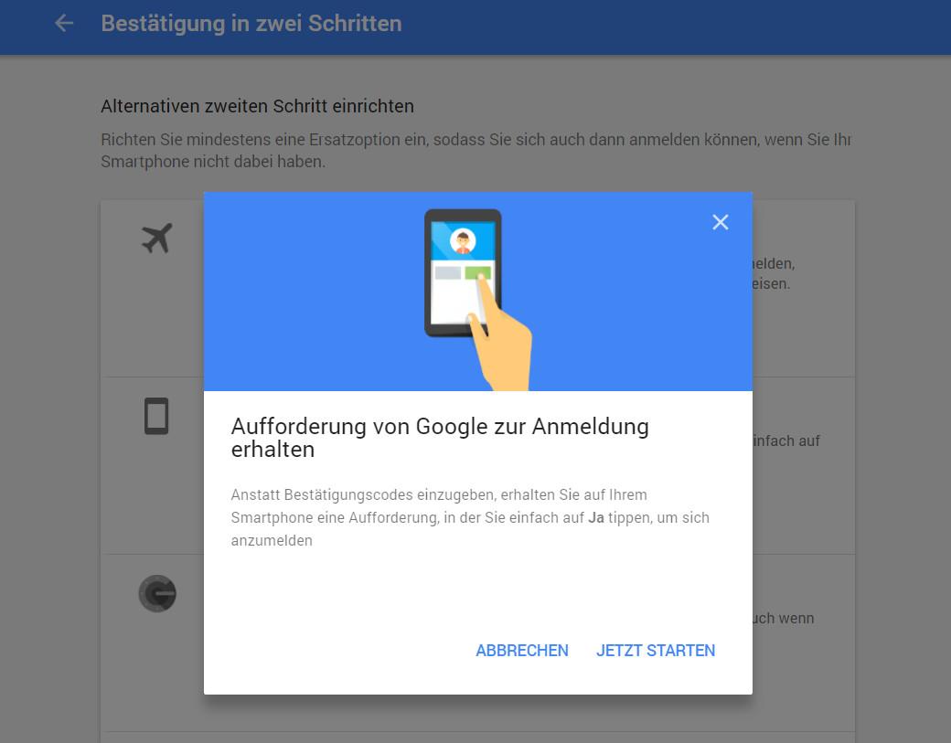 Google Prompt auf dem Smartphone