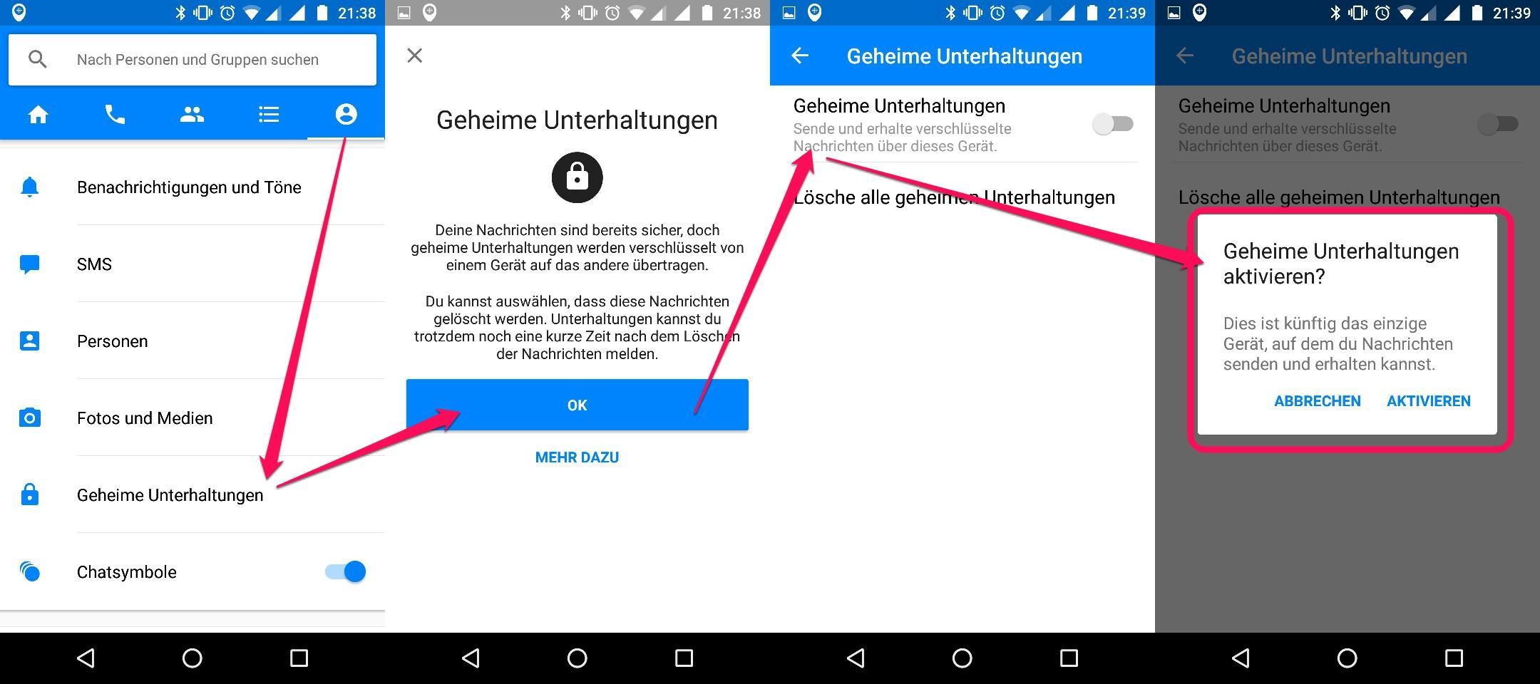 Mit dem Facebook Messenger verschlüsselte Nachrichten versenden (Bild: Screenshot Android).