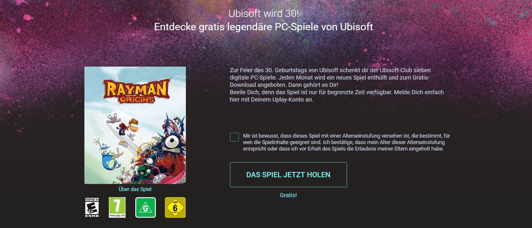 Rayman Origins als kostenloser Download