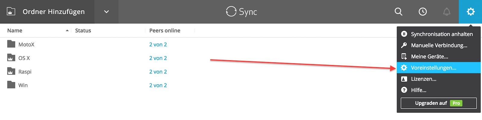 Resilio Sync Voreinstellungen aufrufen