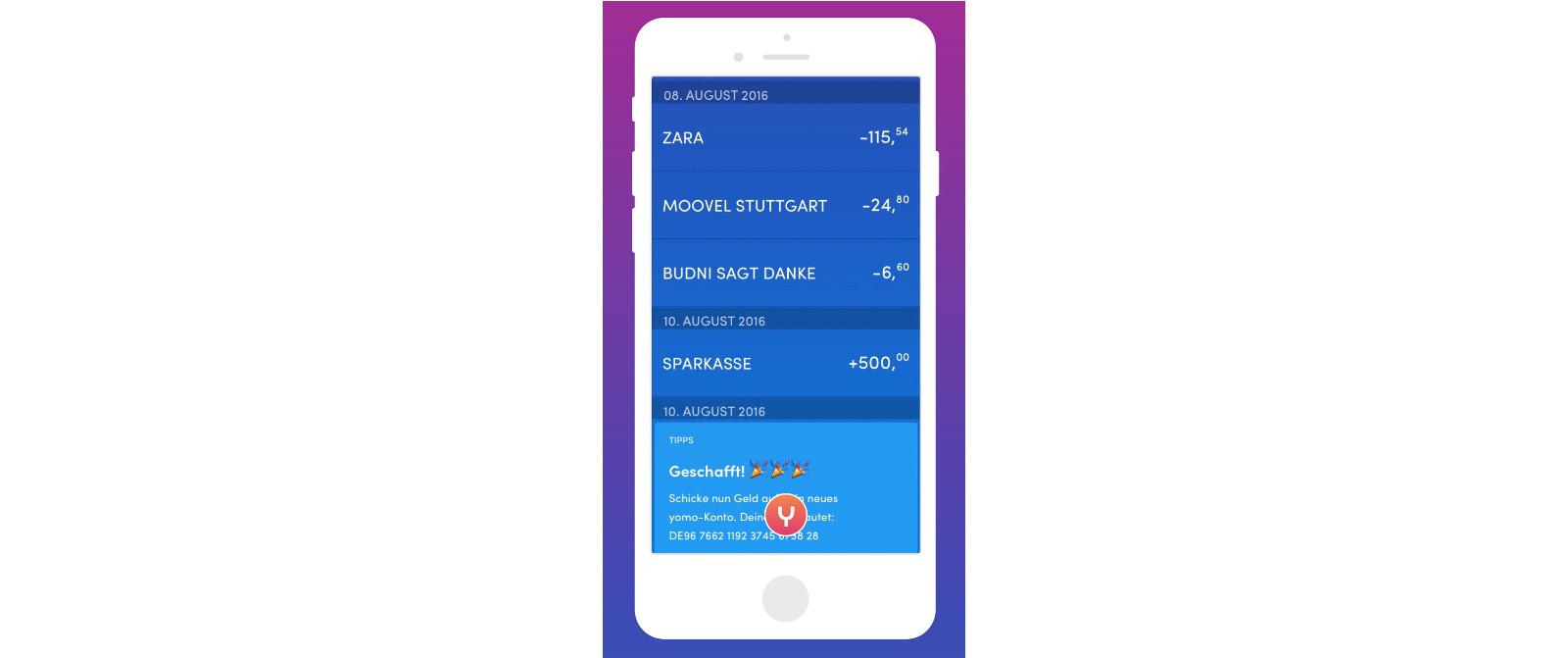 yomo als App auf dem Smartphone (Bild: Screenshot yomo.de).