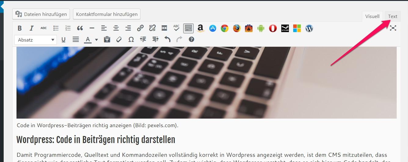 Quellcode in WordPress richtig anzeigen