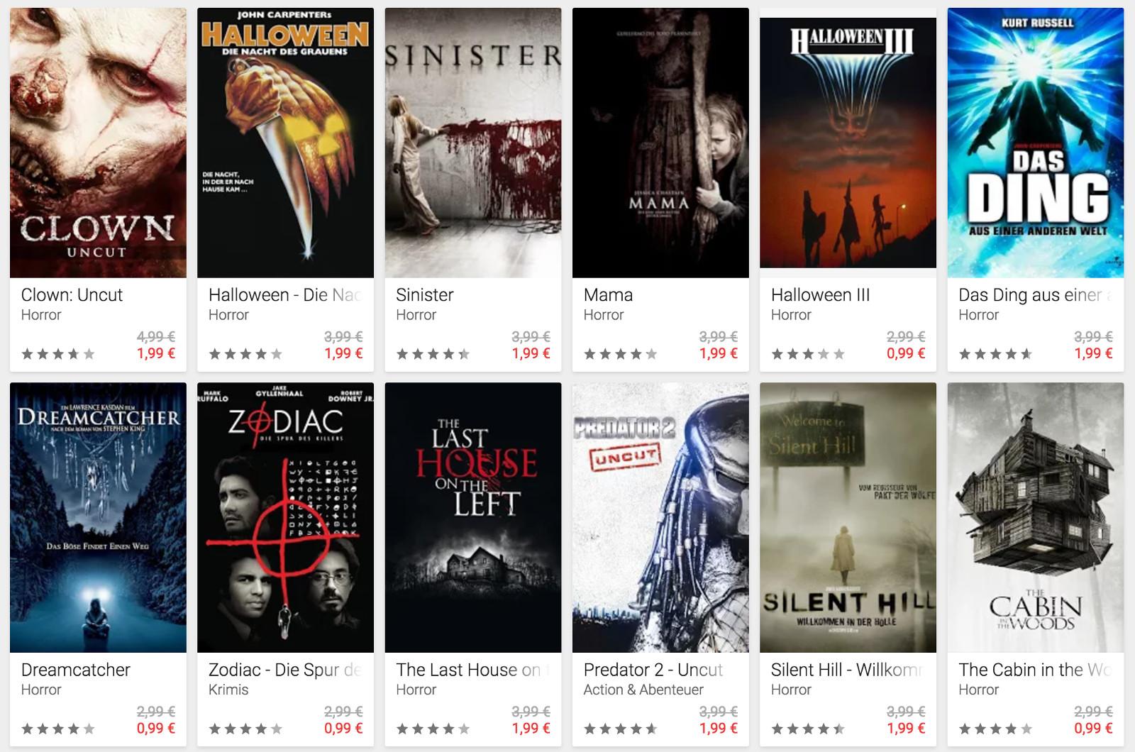 Google Play Filme Halloween Angebot