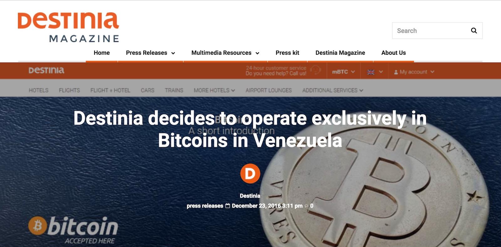 Destinia akzeptiert Bitcoins