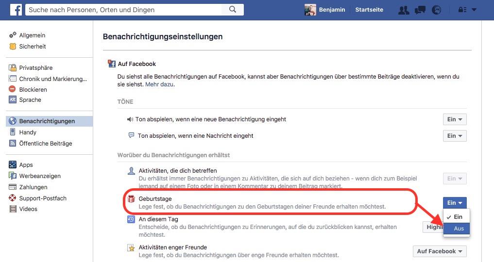 Facebook Benachrichtigungen zu Geburtstage ausschalten