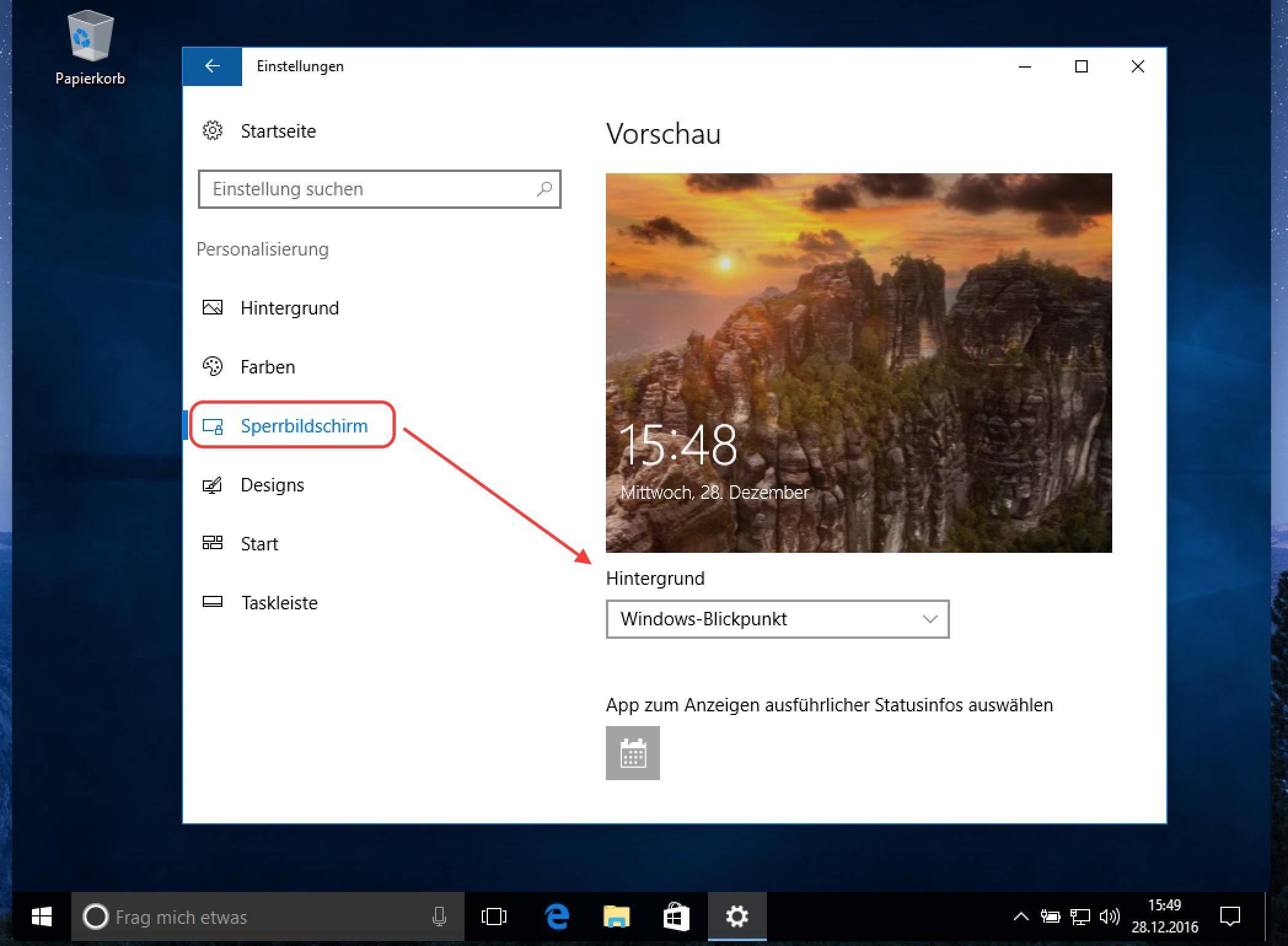 Windows 10 Blickpunkt aktivieren
