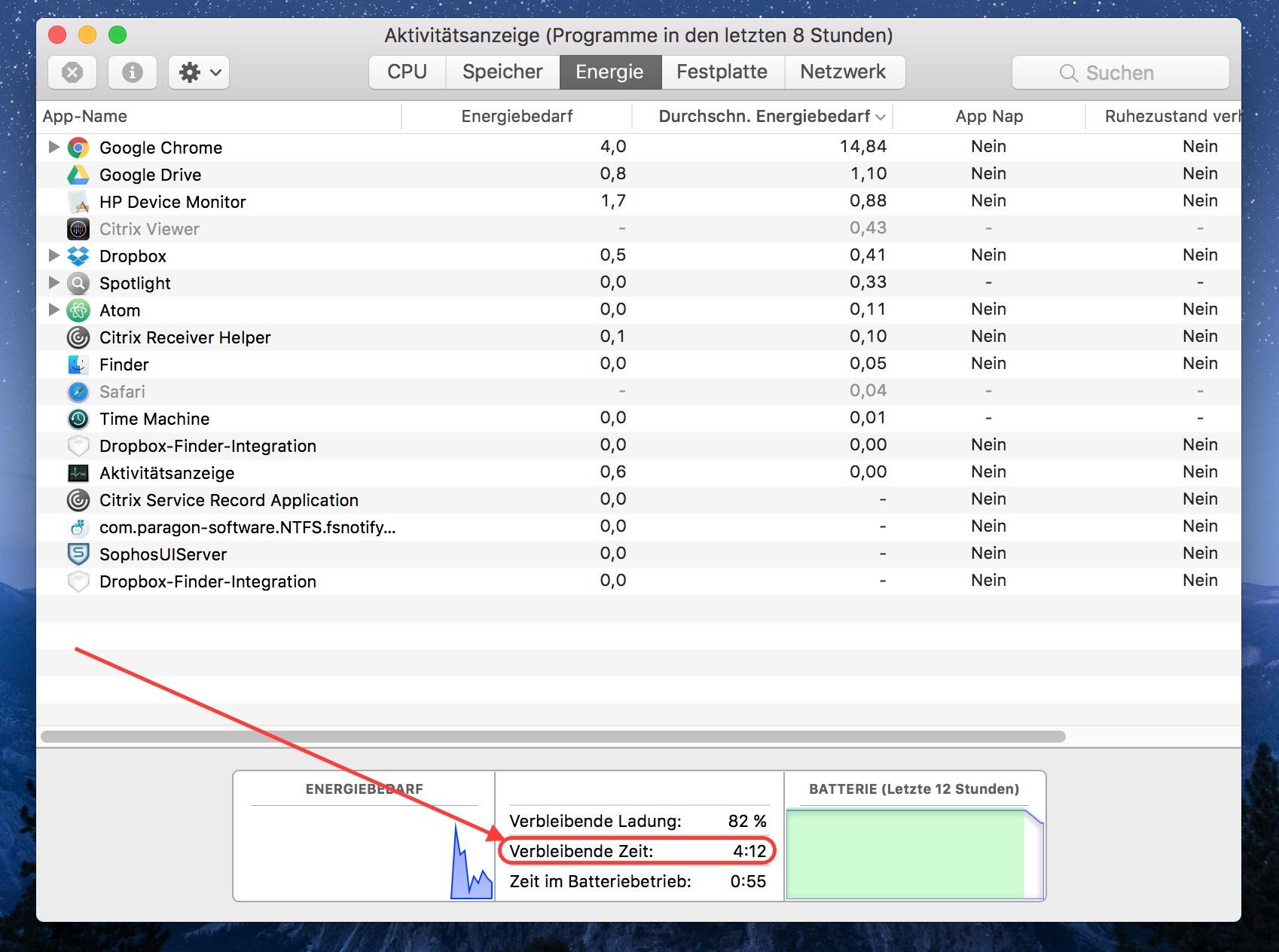 macOS Akkurestlaufzeit ermitteln