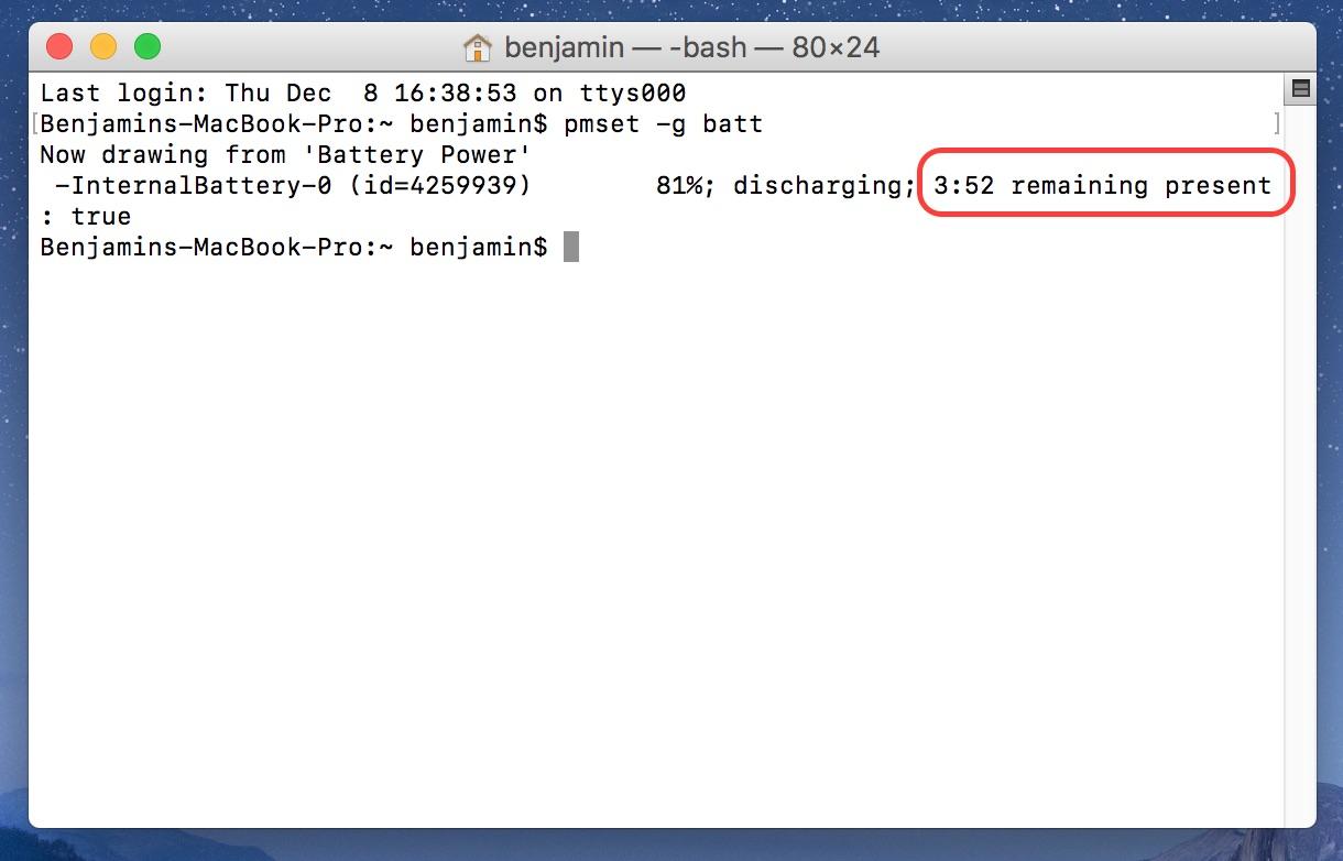 macOS Batterielaufzeit ermitteln