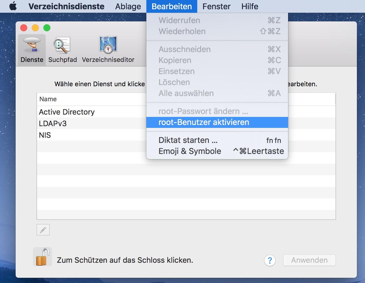 macOS Root-Benutzer aktivieren