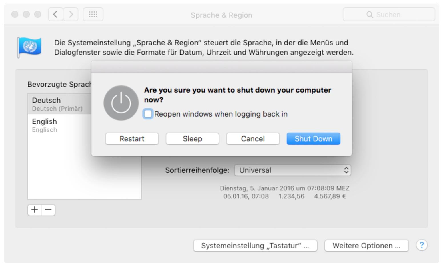 macOS Sprache des Abmelde-Dialogs ändern