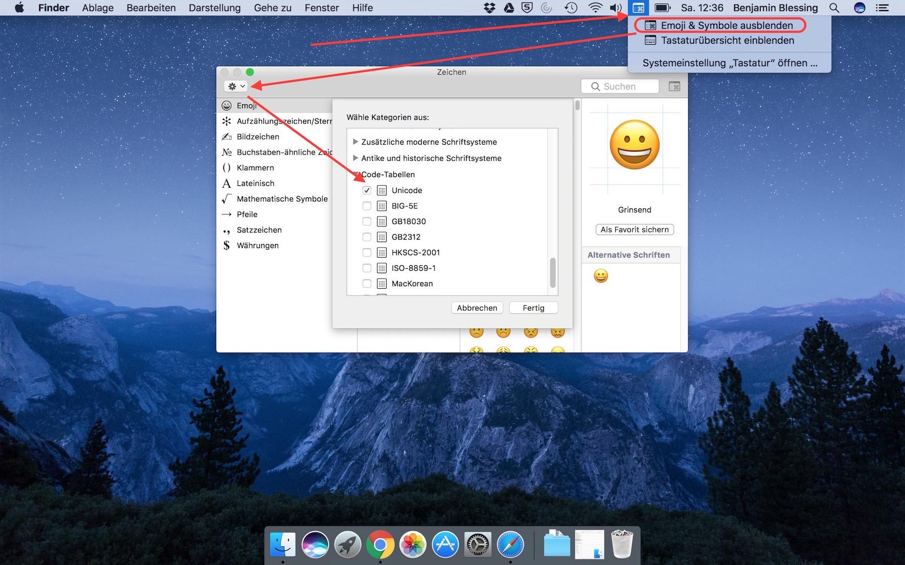 Emoji und Symbole einblenden unter macOS