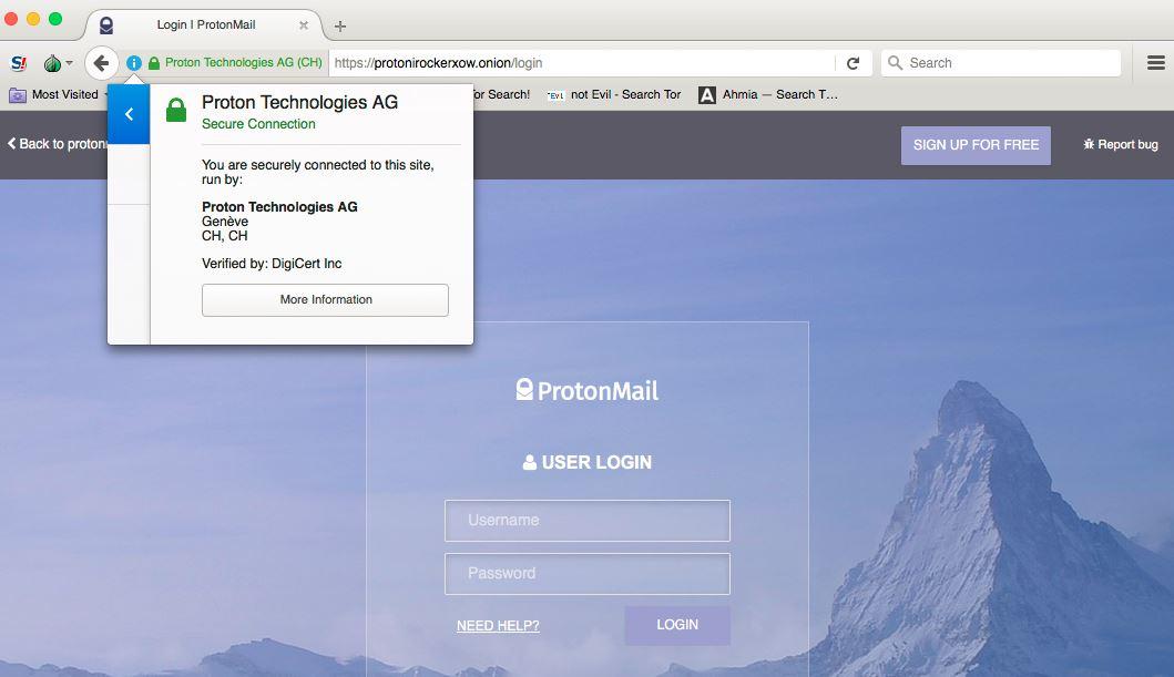 ProtonMail via Tor