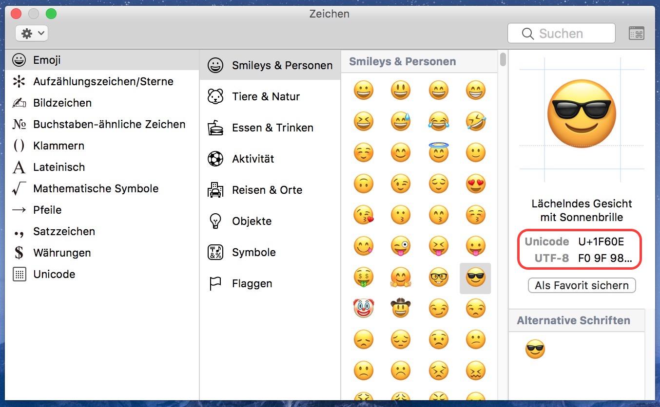 Unicode-Zeichen unter macOS