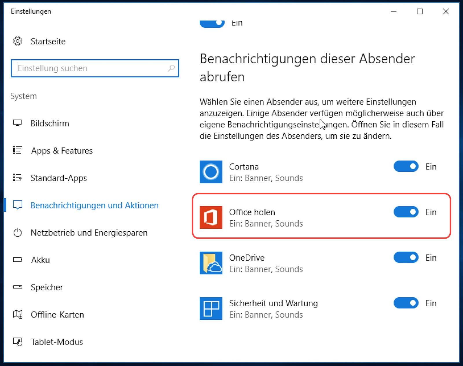 Windows 10 Benachrichtigungen ausschalten