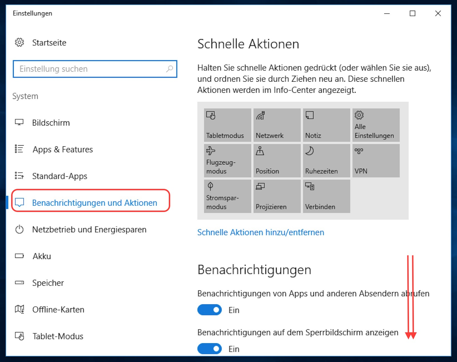 Windows 10 Benachrichtigungen und Aktionen