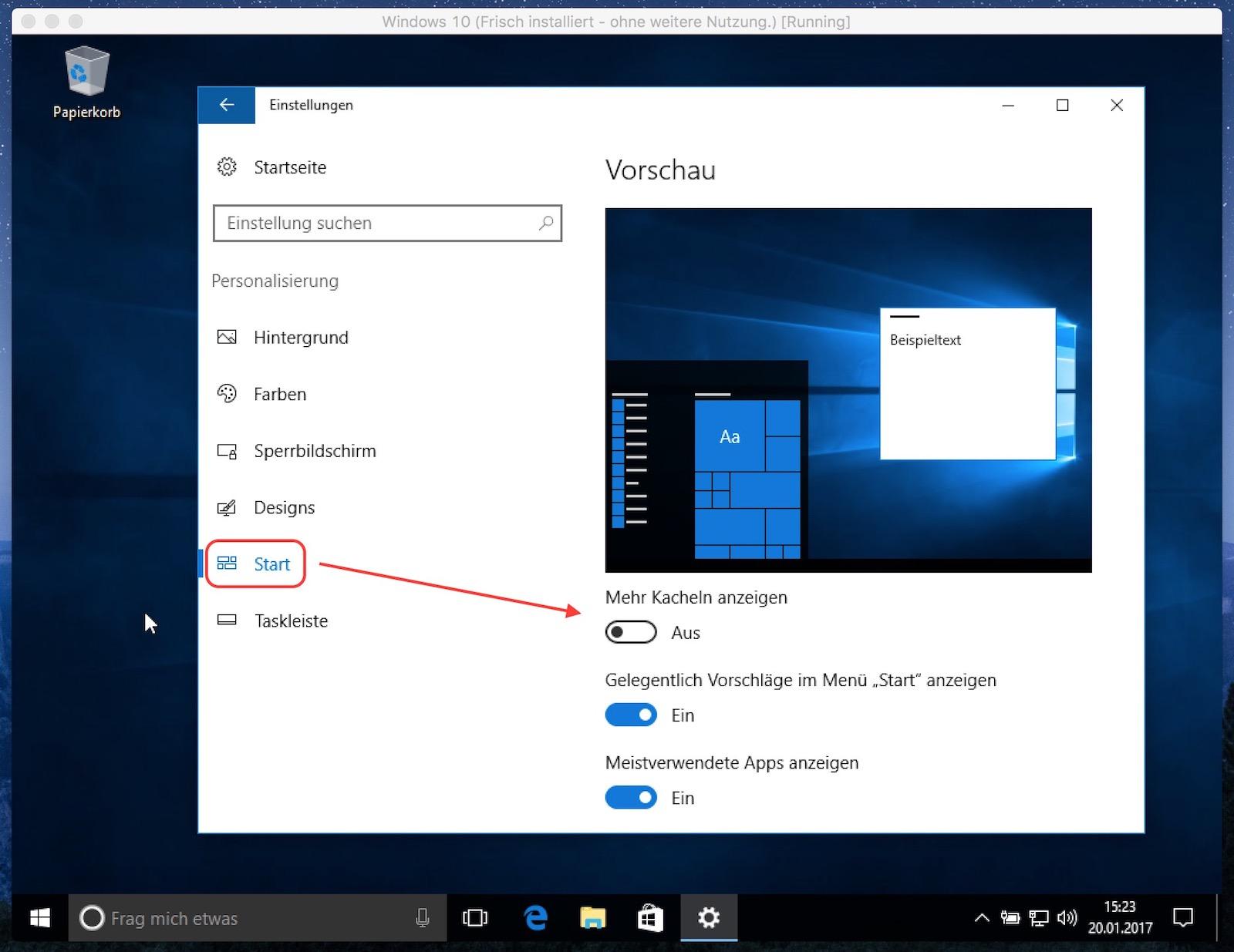 Windows 10 Startmenü mit mehr Kacheln