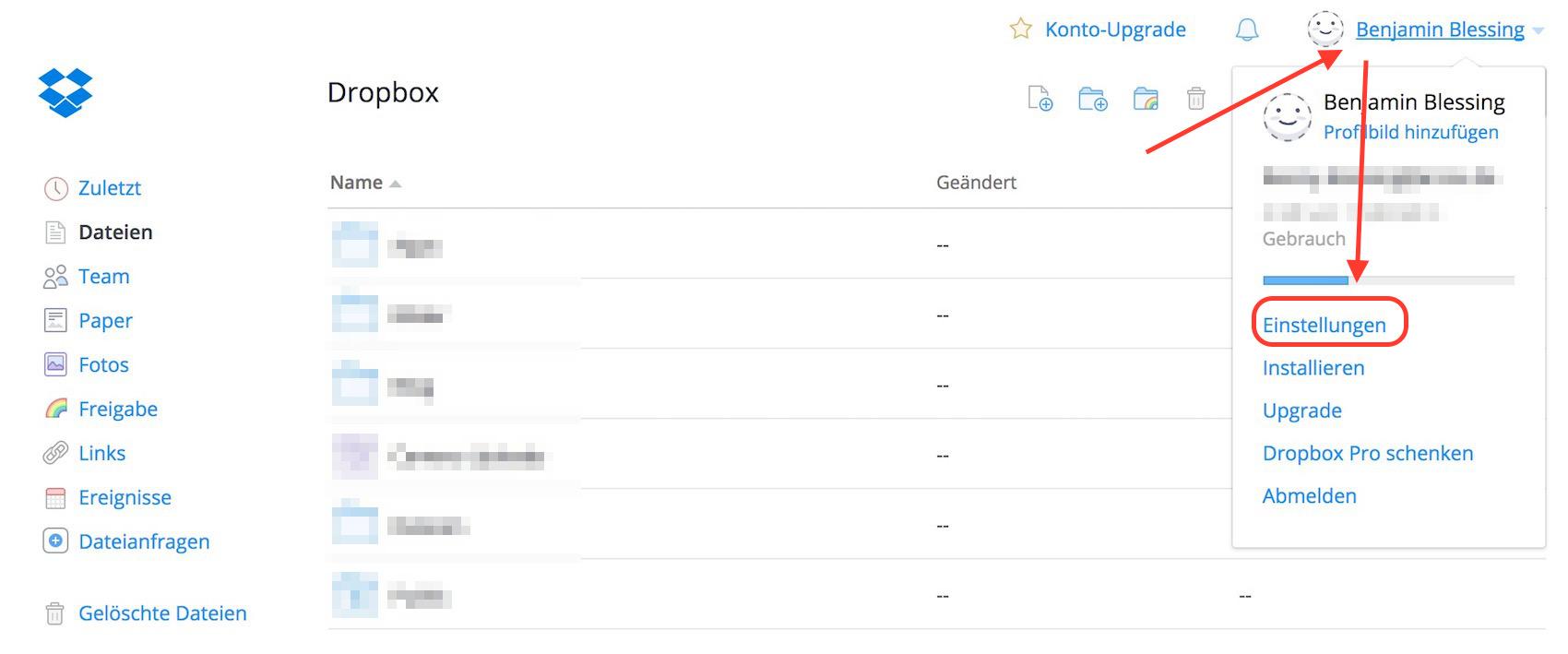 Dropbox Zwei-Faktor-Authentifizierung aktivieren