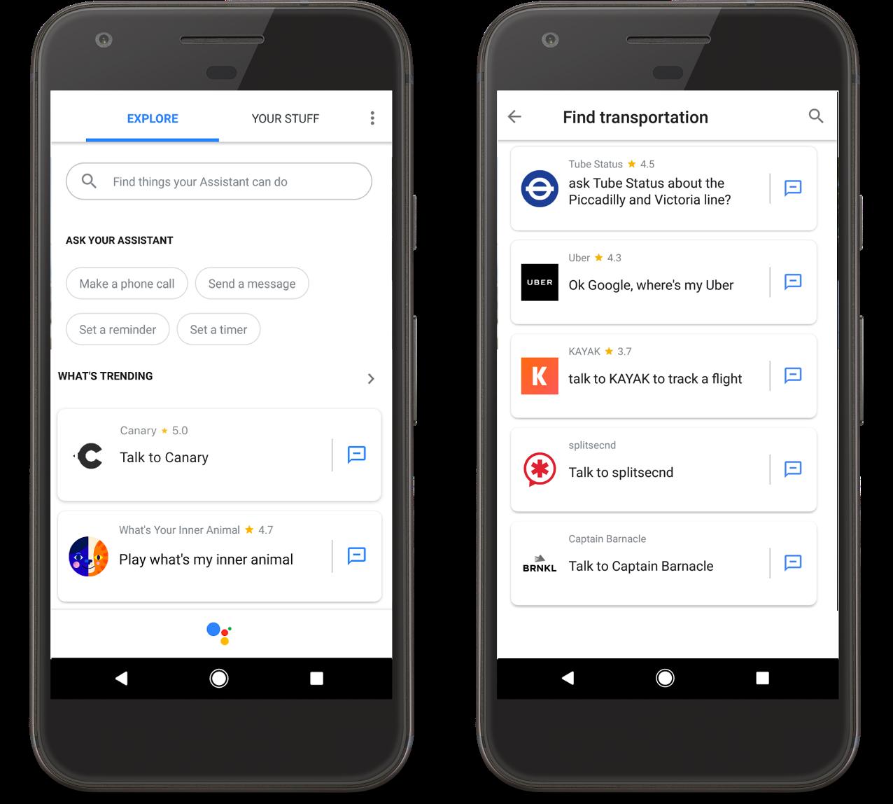 Google Assistant Unterkategorien für Apps