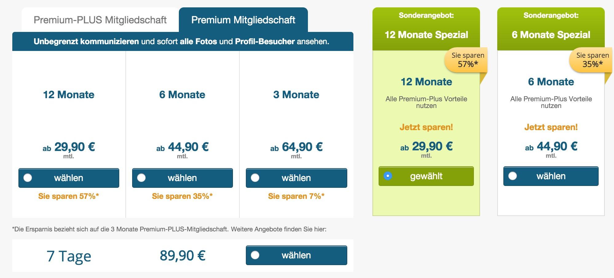 Preise und Kosten bei eDarling