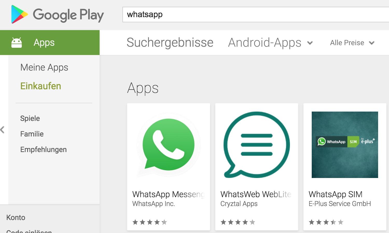 WhatsApp Suche im Google Play Store