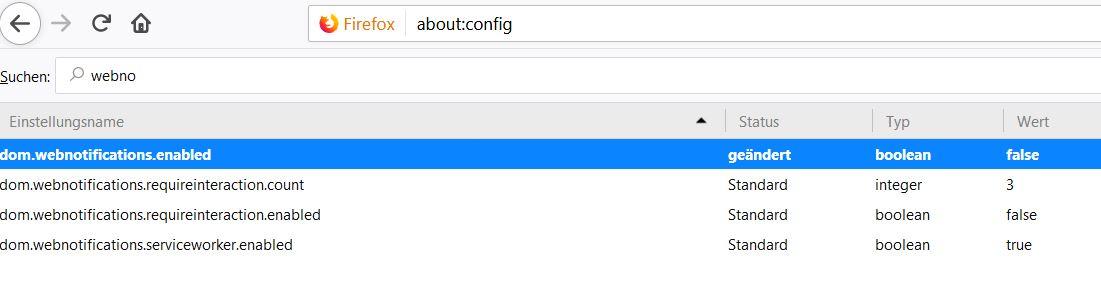 Firefox Benachrichtigungen deaktivieren