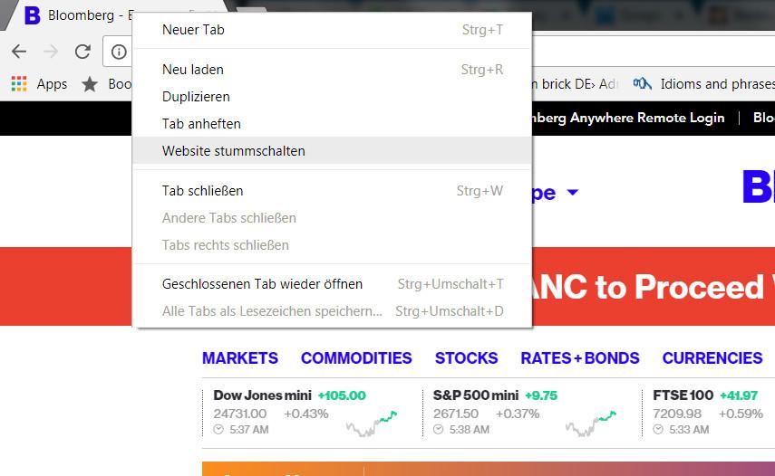 Google Chrome Webseiten stummschalten