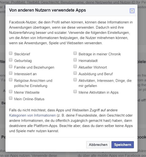 Apps auf Facebook Zugriff einschränken