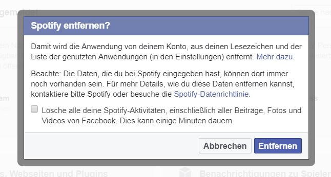 Apps aus Facebook entfernen