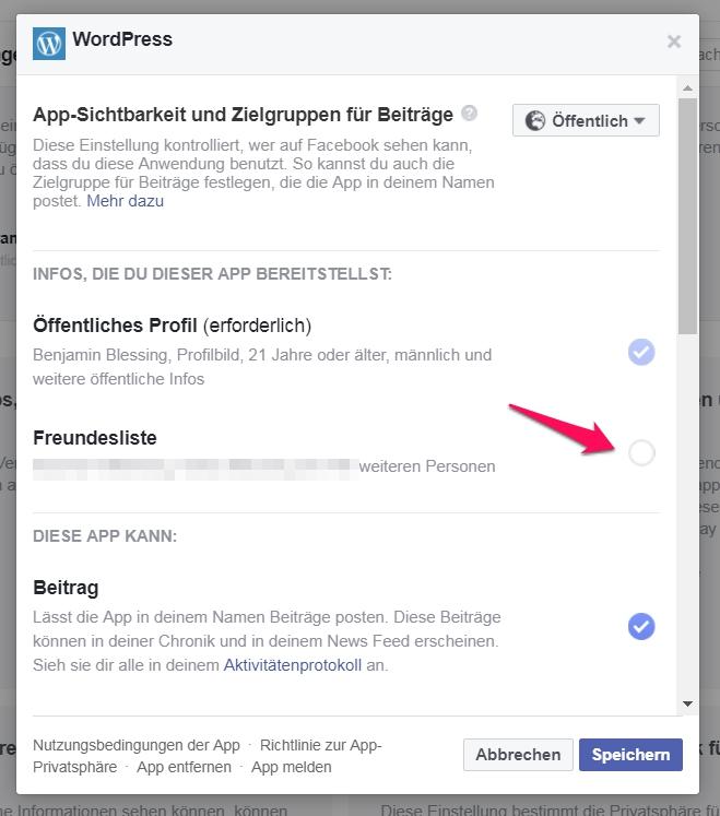 Facebook-Apps einschränken