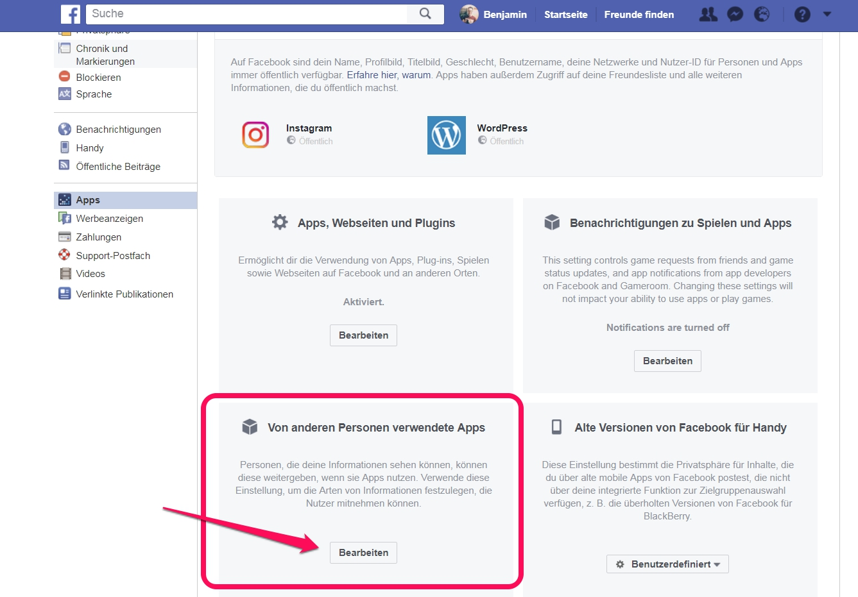 Facebook Apps von Freunden einschränken