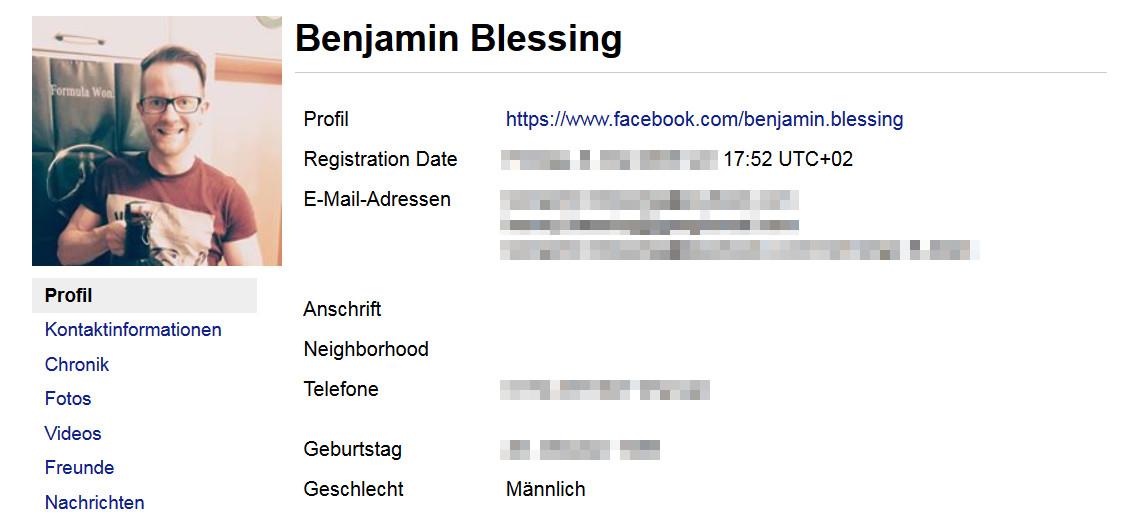 Facebook Profil im Archiv