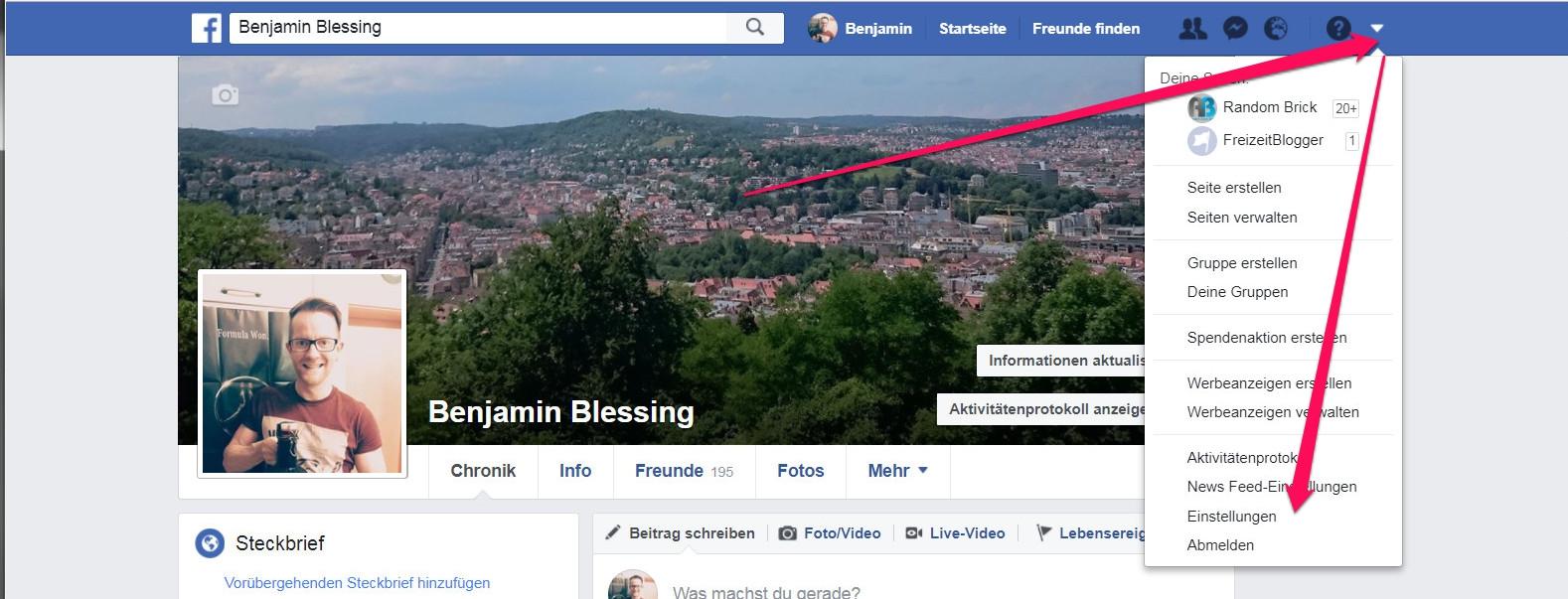 Einstellungen zum Facebook-Profil