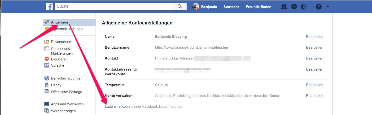 Eine Kopie der gespeicherten Daten von Facebook anfordern